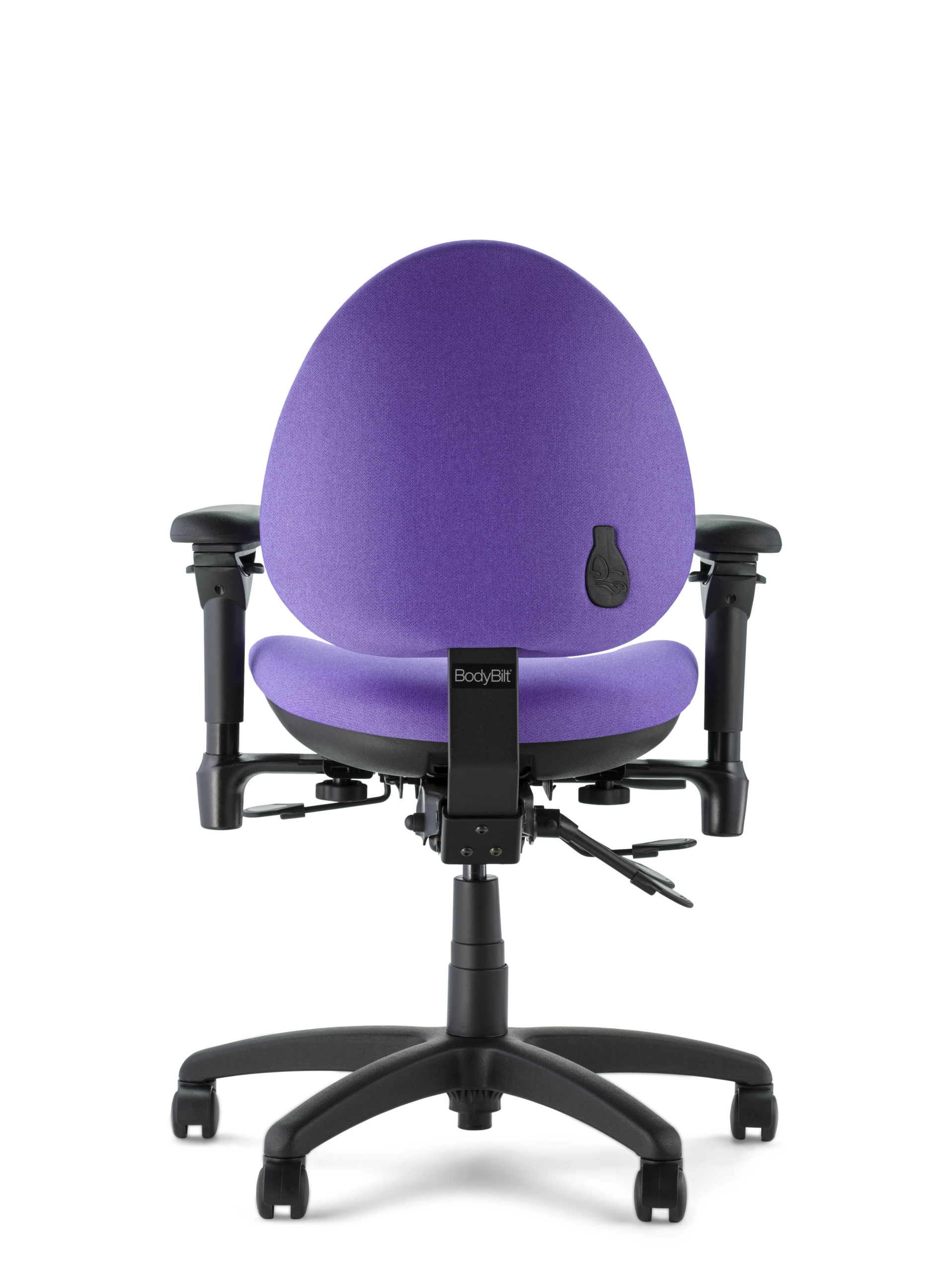 Back view of J757 with purple Hyacinth fabric optima arms and black base