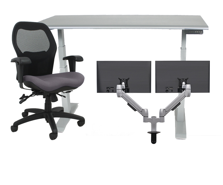 Work from home package A Grey Sola LT with silver table and dual monitor arms