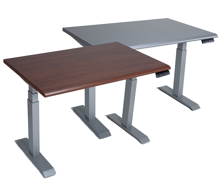 Series 2 Height Adjustable Tables Venus Silver and Shaker Cherry Table Top