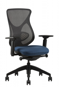 Midcelli A2806 black mesh back blue fabric seat black base right angle